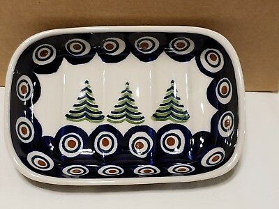 Boleslawiec Polish Pottery Christmas Tree Design Soap Dish / Small Dish New