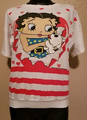 Rare Vintage Betty Boop Sweatshirt White 1980s 1988 Hearts Dog Made in USA 50/50