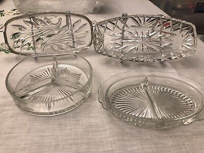 Vintage Clear Glass Candy Relish Pickle Olive Serving Dishes Lot of 4