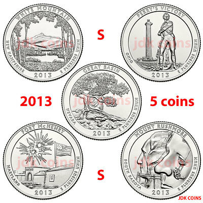 2013-S National Park Quarters Complete 5 Coin Set Uncirculated Us Mint