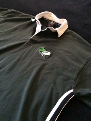 Vintage Genuine Guinness Merchandise Rugby Polo Men's XL Embroidered Logo Beer