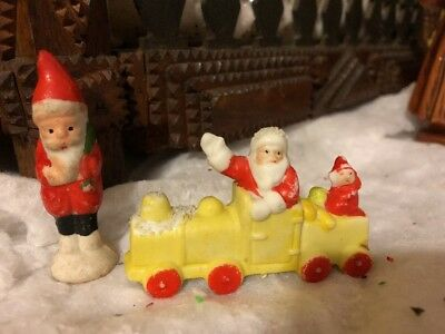 VTG Bisque Santa Claus Elf on Train Snow Baby & Santa Standing Small Cute Figure