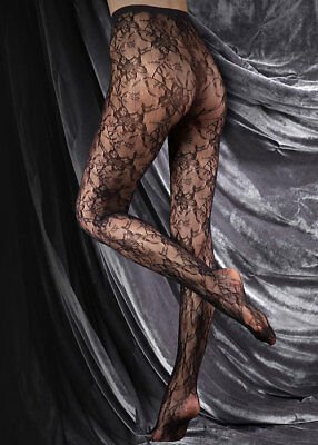 Beautiful Black Floral Lace Seamless Alexandra Tights Large - Couture Ultimates