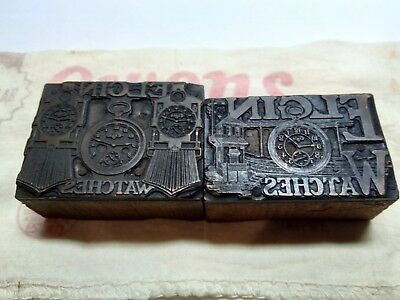 Antique Elgin Railroad Pocket Watch Typeset Wood Printing Blocks Train Printing