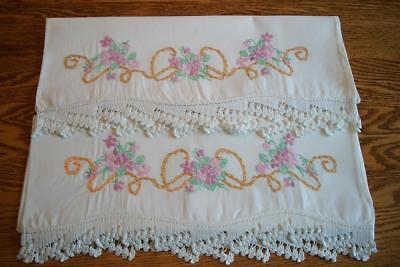 Vintage Hand Embroidered Hand Crochet Pillowcases - Violets and Stunning Crochet