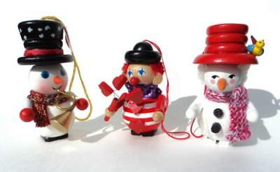 3 STEINBACH GERMANY Handmade Wooden Christmas Ornaments w/ Tags