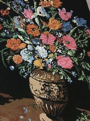 Floral Still Life Handmade Needlepoint Canvas