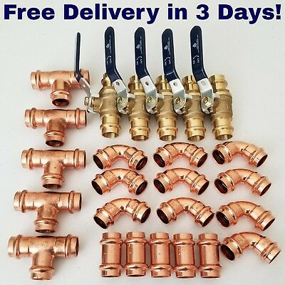 "(Lot of 25) 2"" Propress Copper Fittings.Tees, Elbows - Coupling"