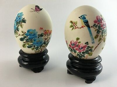 Two Vintage Decorated Eggs With Stands Asian Eggs