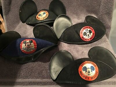 Pair of 4 Vintage Walt Disney Felt Mickey Mouse Club Ears, Disney Land & World