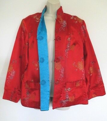 Vintage ASIAN STYLE REVERSIBLE EMBROIDERED QUILTED SATIN JACKET~Red /Turquoise~