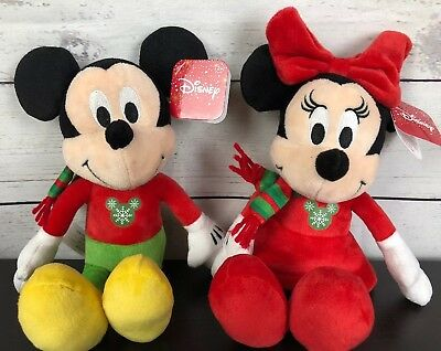 Disney Mickey and Minnie Christmas 2018 Plush Set 10 inch New With Tags