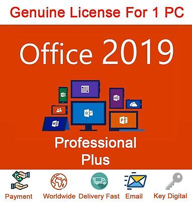 Microsoft Office Professional Plus 2019 LATEST 1 PC Key New Genuine 32/64 BIT
