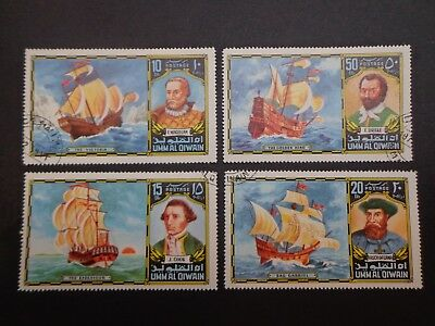 Umm Al Qiwain.set Of Four Explorer & Ships -:- Nice Clean C.t.o With Full Gum.