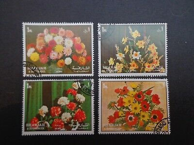 Sharjah.set Of Four Airmail Native Flowers -:-  C.t.o Condition With Full Gum.