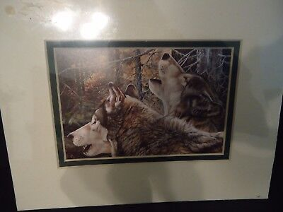 """New """"Unity"""" Wolves Art Print Andrew Kiss Double Matted Fits 8"""" x 10"""" Frame"""