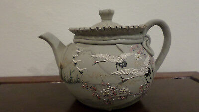 "Japanese Banko Clay Hand Painted Teapot, 4 1/2"" x 6 3/4"""