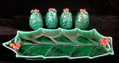 Vintage Lefton Green Holly Berry Relish Tray 1348 & 4 Salt & Pepper Shakers 1353