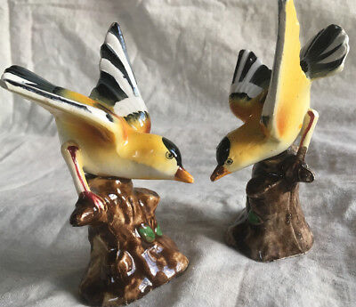 Vintage pair of bright yellow decorative bird ornaments (made in Japan?)