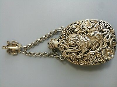 Old Tibetan Silver Hand Carving Hollow Out Qi Lin Statue Snuff Bottle Pendan