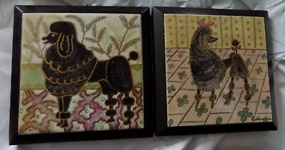 Signed AIDA WHEDON - Matching Pair of Poodles - Tile Art -  Mid Century c.1950s