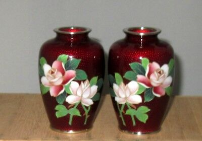 Beautiful Vintage Japanese Cloisonne Ginbari Matching Pair Vases with Roses