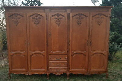Louis XV Style Vintage French oak Carved 5 door Armoire Wardrobe