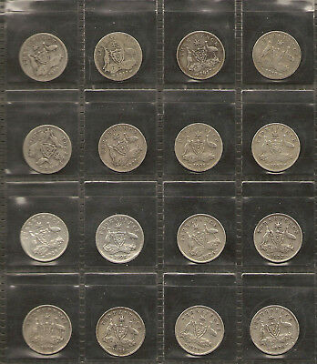 1910 to 1936 Australian Threepence Lot 92.5% Sterling Silver (16 Coins) #1