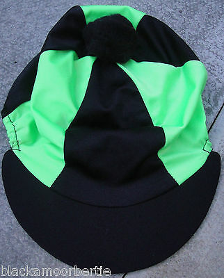 Lycra Riding Hat Silk Skull cap Cover *  BLACK & LIME GREEN * With OR w/o Pompom