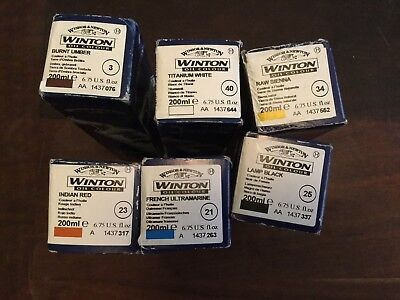 6X Winsor and Newton Artists Oil Colour paints 200ml Titanium White And Others
