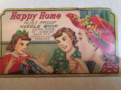 Antique 1930s or 40s Happy Home Needle Book w/ Needles - PRICE REDUCED