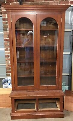 Glass Door Bookcase With 2 File Drawers
