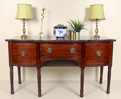 Antique Sideboard Victorian Mahogany Bowfront Large Credenza