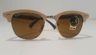 b2ae770f9a Ray Ban RB 3016M 1179 Clubmaster Wood Sunglasses Light Brown 100% Authentic  3016