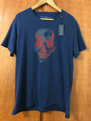 Nwt John Varvatos Star Usa Mens Two Tone Skull Graphic Tee T-Shirt Blue