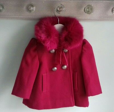 Baby Girls Gorgeous Raspberry Pink Fur Collar Coat By Monsoon Size 3-6 Months