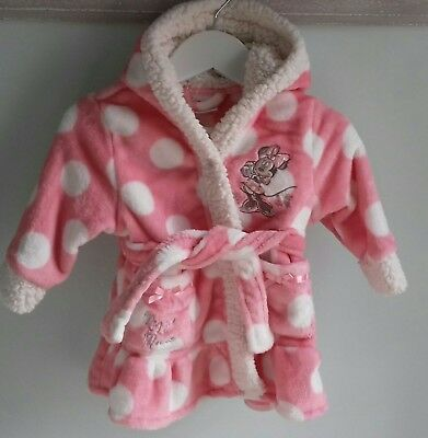 Baby Girls Gorgeous Disney Minnie Mouse Dressing Gown Size 3-6 Months