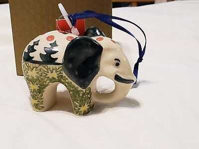 Boleslawiec Polish Pottery Christmas Elephant Ornament Hand Painted NEW