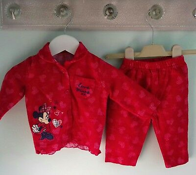 Baby Girls Cute Disney Minnie Mouse Red Pyjamas sleepwear Set Size 3-6 Months