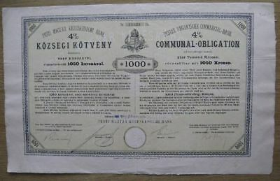 Communal Obligation - Pester Ung. Commercial-Bank - 1000 Kronen - 1905 - Ungarn