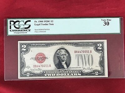 FR-1508  1928 G Series $2 Red Seal US Legal Tender Note *PCGS 30 Very Fine*