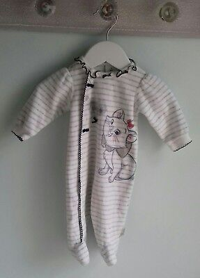 Baby Girls Pretty Disney Marie Velour Babygrow Romper Outfit Size 1 Month