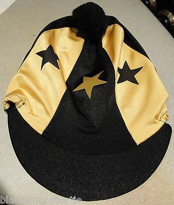 Lycra Riding Hat Silk Skull cap Cover BLACK & GOLD * STARS  With OR w/o Pompom