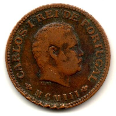India Portugueza 1/4 Tanga Carlos I Rei Portugal Copper Coin