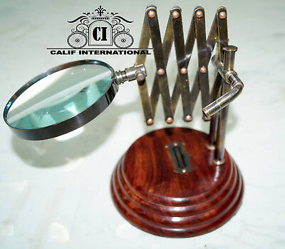 Collectibles Antique Vintage Desktop Magnifying Chainner Table Top Decor Gift.