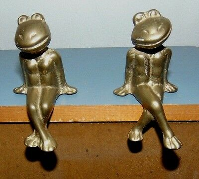 Brass Frogs Shelf Sitters Antropomorphic Boy and Girl