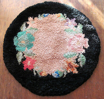 Antique Hand Hooked Handmade Silk Rug Mat Primitive Dollhouse or Table