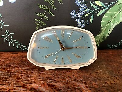 Metamec bedside alarm clock, mid century, vintage, 1960s, Electric, White/blue