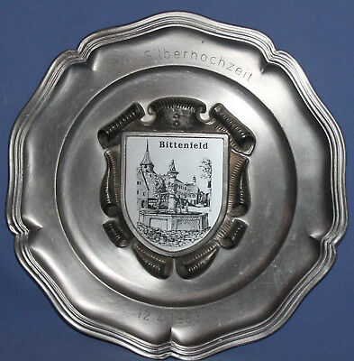 Vintage German Pewter Wall Decor Plate Ges. Gesch.