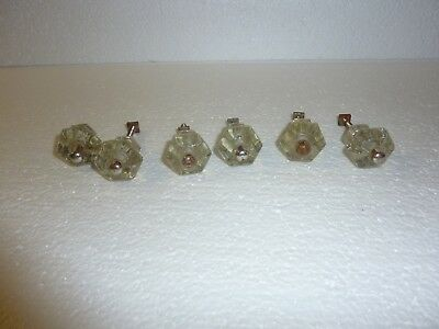 Lot of 6 Vintage Matching Clear Glass Cabinet Door Drawer Pull Knob Pulls